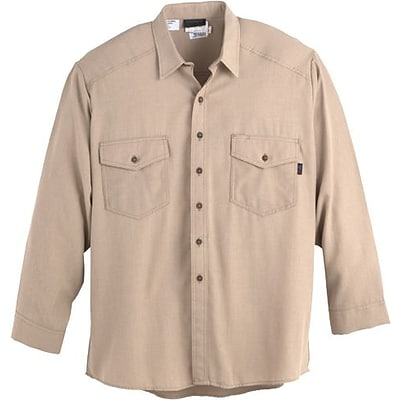 Workrite Flame Resistant 4.5 oz Nomex® IIIA Long Sleeve Utility Shirt, Khaki, 54 Chest, Long