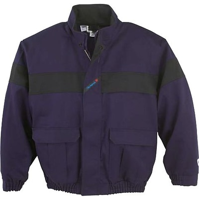 Workrite Flame Resistant Bomber Jacket, Navy, Medium