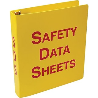 Accuform Signs® Safety Data Sheets Binder, 2.5, Red/Yellow