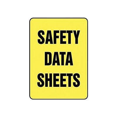Accuform Signs® Safety Data Sheets Sign, 14 x 10, Plastic, Yellow