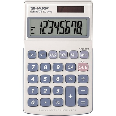 Sharp® EL-240SB Twin-Powered Basic Hand-Held Calculator with Extra-Large Display