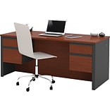 Double Ped Desk. Bordeaux Cherry/Graphite