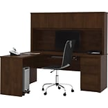 L-Shaped Workstation w/Hutch & Pedestal (Chocolate)