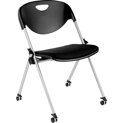 Alera® Plus™ SL Series Nesting Stack Chair With Casters, Black