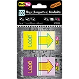 Pop-Up Fab Flags W/ Dispenser, Look!, Purple/Yellow & Yellow/Teal, 100/Pk