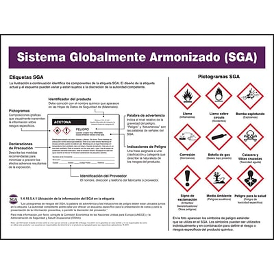 Accuform Signs® Globally Harmonized System (GHS) Reference Poster - Spanish, 18 x 24