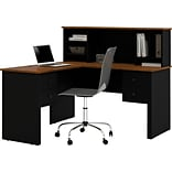 Black & Brown L-Shaped Desk with Hutch