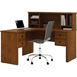 Brown L-Shaped Desk with Hutch