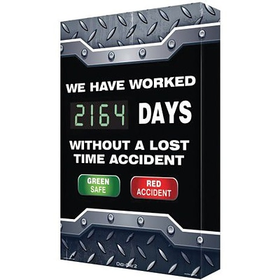 Accuform Signs® Digi-Day® 2 Safe/Accident Electronic Scoreboard, 28 x 20