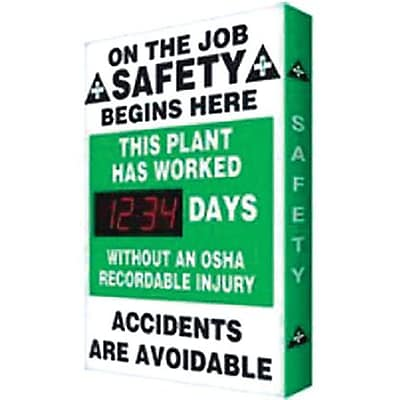 Accuform Signs® Digi-Day® No OSHA Recordable Injury Electronic Scoreboard, 28 x 20