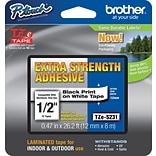 Brother P-Touch® Tze-S231CS Extra-Strength Adhesive Tape, 1/2W x 26.2L, Black on White