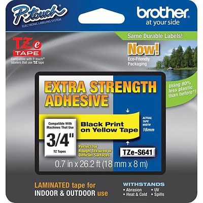 Brother® TZe-S641CS P-Touch® Label Tape, 3/4 Black on Yellow with Extra Strength Adhesive