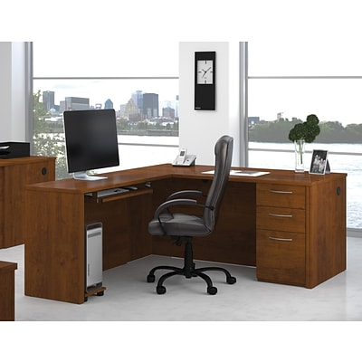 Bestar® Embassy Collection in Tuscany Brown; L-Shaped Workstation w/ 1 Pedestal & CPU