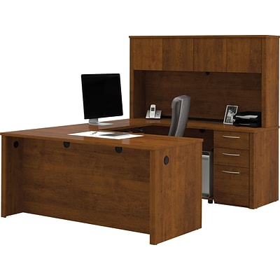 Bestar® Embassy Collection in Tuscany Brown, U-Shaped Workstation w/ Hutch & Pedestal