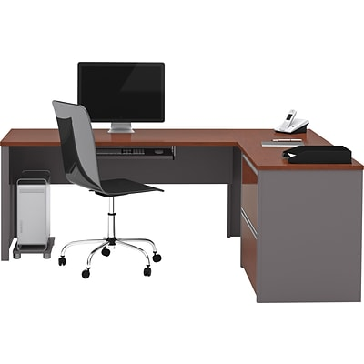 Bestar® Connexion Collection 71W L-Shaped Desk with Oversize Pedestal, Bordeaux and Slate (93862-39)