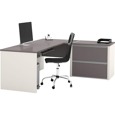 Bestar® Connexion Collection, L-Shaped Desk with Oversize Pedestal, Sandstone and Slate