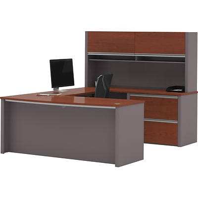 Bestar® Connexion Collection, U-Shaped Desk with Oversize Pedestal and Hutch, Bordeaux and Slate