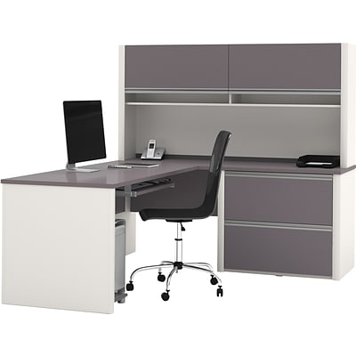 Bestar® Connexion Collection, L-Shaped Desk with Oversize Pedestal and Hutch, Sandstone and Slate