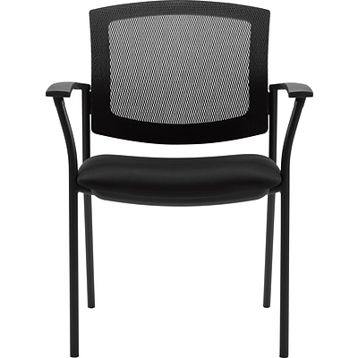Offices To Go® Guest Chair, Mesh Back with Fabric Seat, Black, Seat: 19 1/2Wx18D, Back: 19Wx17H