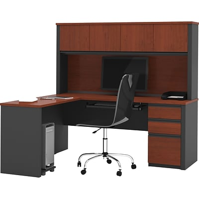 Bestar® Prestige+ 71W L-Shaped Workstation w/Hutch & 1 Pedestal, Bordeaux & Graphite (99872-39)