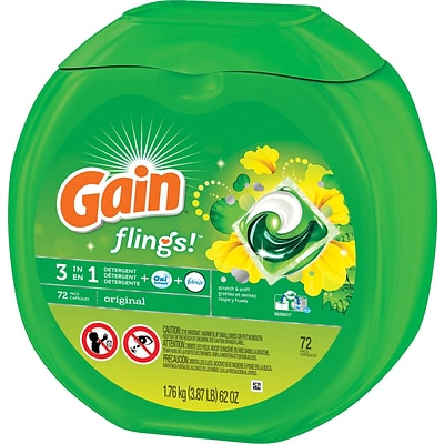 Gain® Flings™ 3-in-1 Laundry Detergent Pods, Original, 72 Flings/Pack