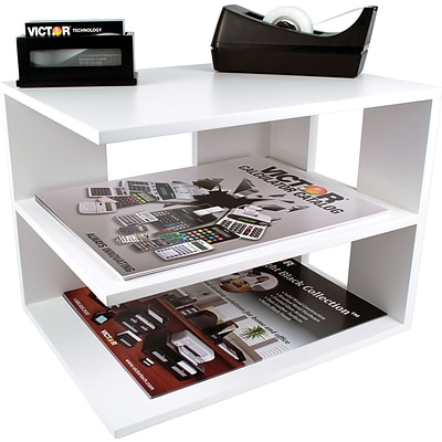 Victor® Wood Desk Accessories, Corner Shelf, Pure White