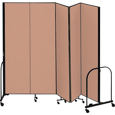 Screenflex® 5-Panel FREEstanding™ Portable Room Dividers; 8H, Oatmeal