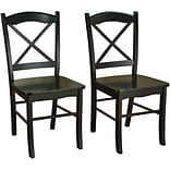 TMS Tiffany Rubberwood Dining Chair; Black, 2/Pack