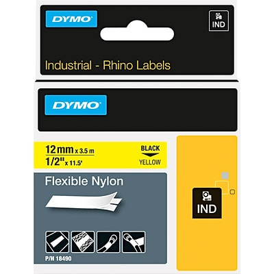 DYMO 18490 Label Maker Tape, 1/2W, Black on Yellow, Roll