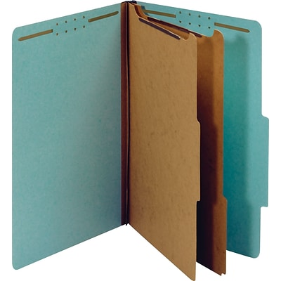 Quill Brand® Recycled Pressboard Classification Folders, 2-Partitions, 6-Fasteners, Legal, Lt Blue, 15/Box (761903)