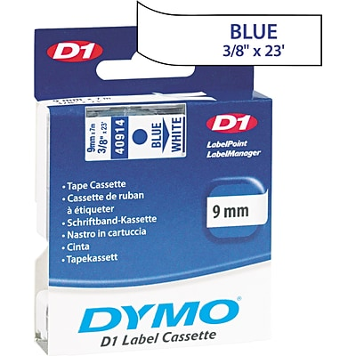 DYMO® Labelmaker Tapes; 3/8 x 23, Blue on White
