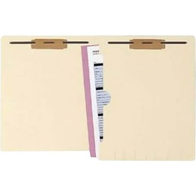 WaterShed® Cutless Manila End-Tab Folders, Pocket, 2 Fasteners, 50/Box