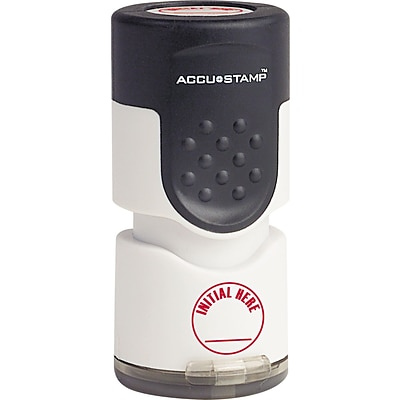 Accu-Stamp® One-Color Pre-Inked Round Stamp INITIAL HERE, 1/2 x 1-5/8 Impression, Red Ink (035661)