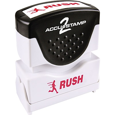 Accu-Stamp2® One-Color Pre-Inked Shutter Message Stamp, RUSH, 1/2 x 1-5/8 Impression, Red Ink (035590)