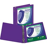 Samsill Clean Touch™ 3 Ring View Binder Protected by Antimicrobial Additive, 3 Inch Round Rings, Pur