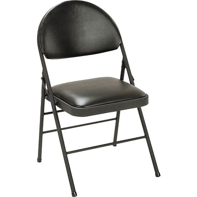 Cosco® XL Folding Chairs, Powder Coated Steel, Office, Black/Black, 4/Carton (60973BLK4)