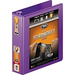 Heavy Duty Round Ring View Binder with Extra Durable Hinge, 2 Capacity, Purple