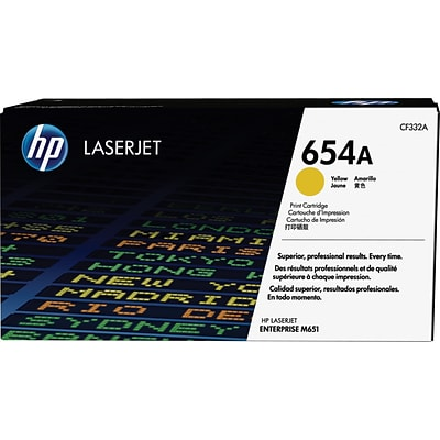 HP 654A Yellow Toner Cartridge, Standard (CF332A)
