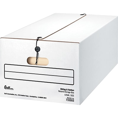 Quill Brand® String and Button Basic Duty Storage Boxes; Legal Size, 350lbs Stacking Strength, 12/Carton