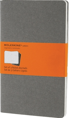 "Moleskine Cahier Journal, Set of 3, Large, Ruled, Pebble Grey, Soft Cover, 5"" x 8-1/4"""