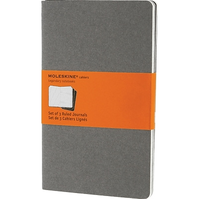 Moleskine Cahier Journal, Set of 3, Large, Ruled, Pebble Grey, Soft Cover, 5 x 8-1/4