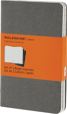 "Moleskine Cahier Journal, Set of 3, Pocket, Ruled, Pebble Grey, Soft Cover, 3-1/2"" x 5-1/2"""
