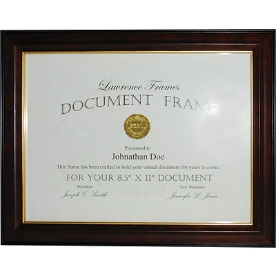Walnut and Black Wood 8.5x11 Picture Frame - Gold Line