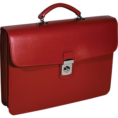 Royce Leather Kensington Single Gusset Briefcase, Red