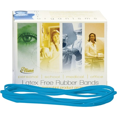 Alliance, Non-Latex Rubber Bands with Antimicrobial Product Protection, #117B (7 x 1/8), Cyan Blue, 1/4 lb. Box