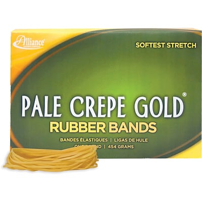 Alliance® Pale Crepe Gold 19 Rubber Band, 3-1/2 x 1/16, 1890/Box