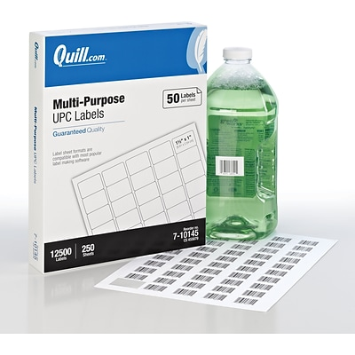 Quill® UPC Small ID Labels; White, 1x1-1/2, 12500 Labels
