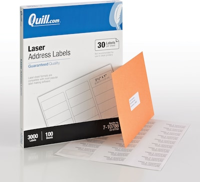 "Quill Brand Laser Address Labels; White, 1x2-5/8"", 3,000 Labels, Comparable to Avery 5160"