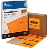 Quill Brand® Laser Shipping Labels, 3-1/3 x 4, Fluorescent Orange, 600 Labels Per Box (710441)