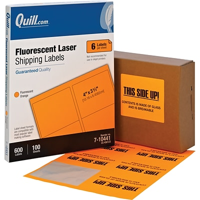 Quill® 6-Up Multi-Use Shipping Labels; Fluorescent Orange, 3-1/3x4, 600 Labels